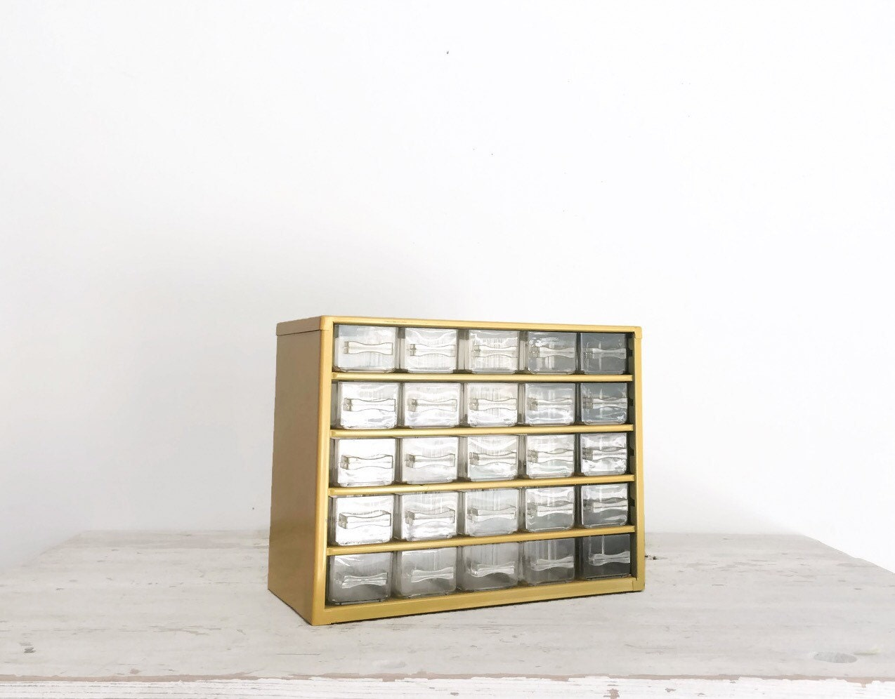 vintage multi drawer storage box yellow craft storage parts. Black Bedroom Furniture Sets. Home Design Ideas