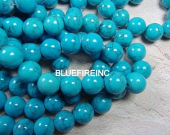 32 pcs12mm round smooth blue color dyed howlite beads