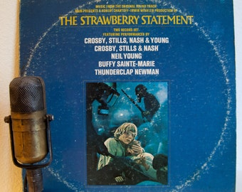 """Neil Young / Crosby, Stills, Nash and Young, Vinyl Record Album Soundtrack 2LP  """"The Strawberry Statement""""(Orig. 1970 MGM)"""