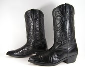 vintage cowboy boots mens 11 D black western leather made in usa