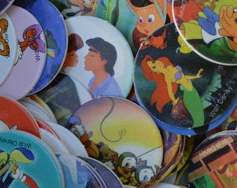 Vintage Pogs (20) Disney, aladdin, mickey, ariel, little mermaid, pinocchio, princesses, lion king, milk bottle cap  Pog lot, paper disk
