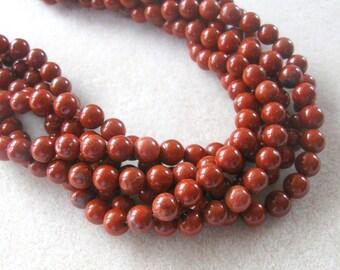 Red Jasper Round Beads, Gemstone Beads, Semi Precious, Bead Supplies, Craft Supplies, Jewelry Making, Jasper Beads
