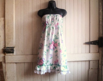 womens strapless dress ~ eco friendly white floral dress ~ size s small, 4 - 6