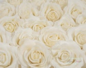 20 Loose Real Touch Roses for Wedding Bridal Cake Decoration, Cake Topper. Real Touch Flowers Blooms, cream white ivory