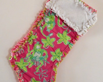 Lilly Pulitzer Rock a Hula Christmas Stocking Rag Quilt edges