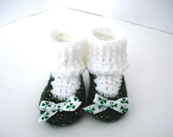 St. Patrick's Day Little Irish Girl Crochet Baby Booties Shoes Emerald Green and Gold with White Socks Clovers Lucky Ireland 0-3 Months Size