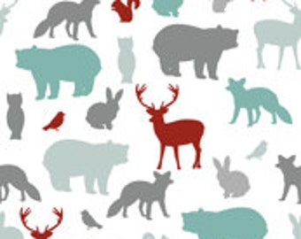 Custom fitted crib sheet in Woodland animals mulit color
