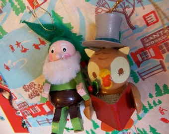 gnome and owl ornaments