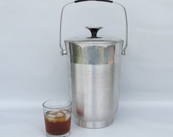 "Mid Century Aluminum Ice Bucket - Champagne Bucket ""Mad Men Icy Cold"""