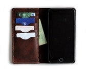UNIQUE and RARE scratched leather wallet for iPhones in Dark BROWN  (Free Personalization)