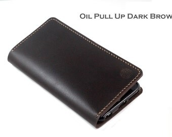 Hand stitched Wallet for Android Smartphones in Oil Pull Up DARK BROWN Leather (Free Personalization)