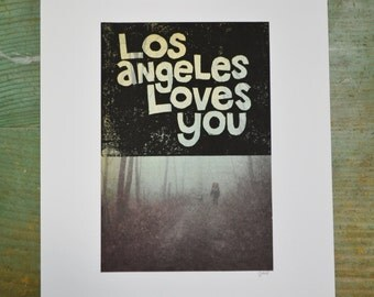 Los Angeles Loves You - Woods - Linocut - Book Page Art - Hand-pulled - Reclaimed - Repurposed