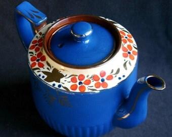Fabulous bright blue ceramic teapot