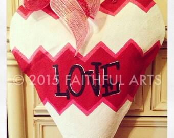 LOVE Heart Burlap Door Hanger