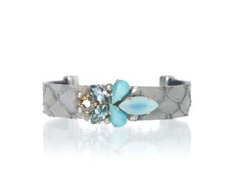 Fish leather bracelet embellished with Swarovski crystals, vintage glass and pearls - bridesmaids gift - animal leather blue bracelet