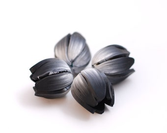Flower beads, Yellow Tulip beads,flower pendants, focal beads, statement beads, black and white large flower buds polymer clay - 4 pcs