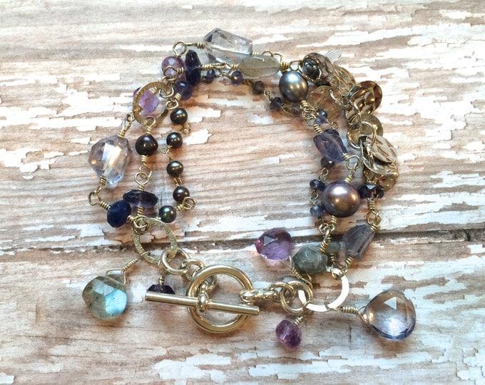 Blue Multi Strand Gemstone Bracelet: Iolite, Blue Topaz, Labradorite, Amethyst, Freshwater Pearl, Pink Quartz Gemstones