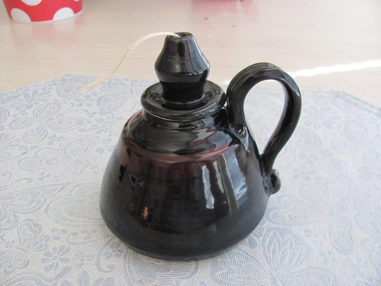 Handmade Ceramic Oil Lamps : Oil lamp ceramic candle handmade stoneware pottery black