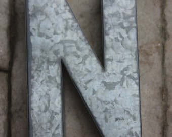Large Metal Letter Zinc Steel Initial Home Room Decor Diy Signs Galvanized Letter Vintage Style Gray