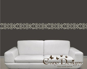 Border swirl Vinyl Wall Decal, home decor , removable wall decal border
