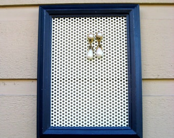 Earring Holder, memo magnet framed organizer, Navy blue, white metal magnetic insert for jewelry or photos, organizer with a nautical touch