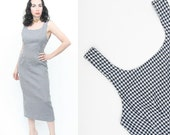 CLEARANCE 75% OFF Vintage 90s Revival Houndstooth Pencil Maxi Dress Navy White Nautical Bandage Bodycon Mod Clueless Medium