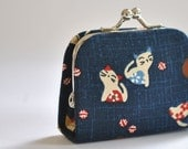 Kittens - Cute Tiny Kiss lock Coin Purse/Jewelry holder - Japanese fabric