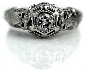 Antique Engagement Ring Art Deco Engagement Ring Old .35 Ct European Cut Diamond Filigree Floral 18 kt WG Art Deco Diamond Wedding Ring