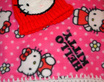 Hello Kitty Fleece Blanket and Knit Cap
