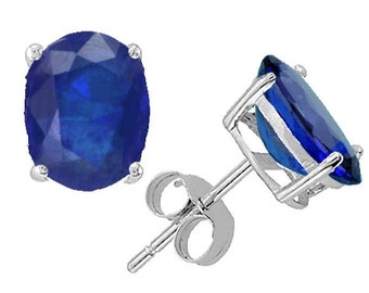 blue  sapphire earrings  14k white gold
