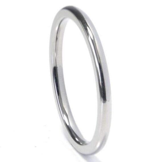 14kt White Gold Wedding Band 2mm Half Dome Rhodium By Usajewelry