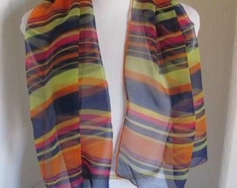 SALE Beautiful Colorful Stripe Sheer Chiffon Silk Scarf - 17 x 40 Long