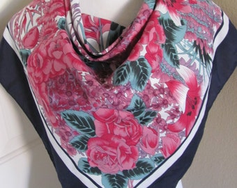 Beautiful Blue Pink Floral Silky Poly Scarf - 26 X 26 Square