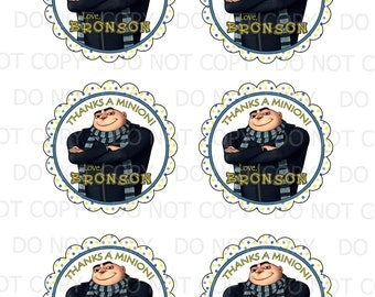 "Printable Personalized Gru Inspired Birthday 3"" Favor Tags"