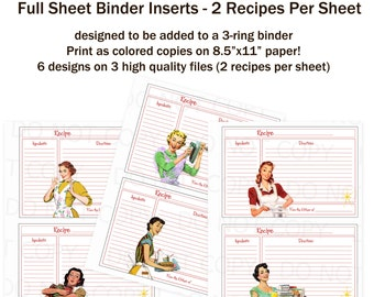 Printable 1950's Retro Housewife 2 Recipe Cards on a Full Sheet for 3-ring Binder - Set of 6 designs