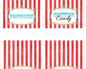 Printable DIY Vintage Circus Red and White Table Tent Food Labels- 12 labels customized (3 sheets)