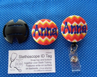 Matching Stethoscope ID & Badge Reel / Name Badge Holder Set - matching embroidered buttons - by floweraks