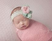 Pink and Mint Vintage style headband, baby headband, newborn photography prop, newborn headband, girl headband