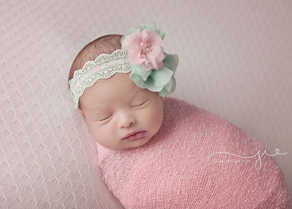 pink and mint vintage style headband baby headband newborn pink and mint vintage style headband baby headband newborn