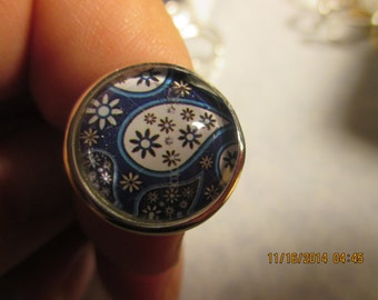 Blue and White Paisley Adjustable Ring
