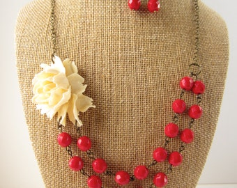 Red Statement Necklace Holiday Jewelry Double Strand Beaded Red Flower Necklace Bridesmaid Jewelry Rustic Wedding Jewelry