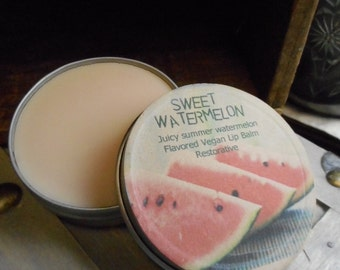 Sweet Watermelon // Lip Balm Juicy Summer Watermelon Sweetened Restorative. Apothecary Tin Hand- Crafted Flavored Vegan Protectant Treatment