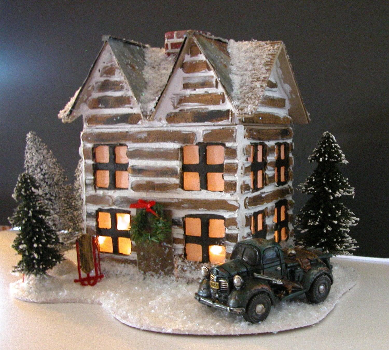 Log Cabin Glitter House For Christmas Decor