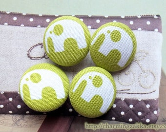 Fabric Covered Buttons (M) - Cute Baby Elephants On Green (4Pcs, 0.75 Inch)