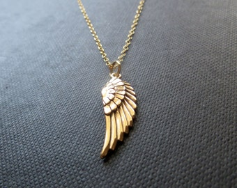 Angel wing necklace, gold angel wing charm necklace, angel wing pendant