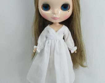 Handcrafted long sleeve dress night gown pajamas outfit for Blythe doll 955-7