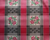 """4.75 yards 1950s Vintage cotton roses needlepoint look fabric pink red white  flowers  36"""" wide material sewing quilt dress wiggle"""