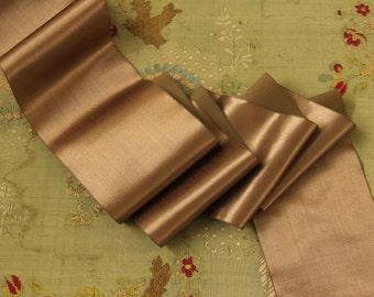 1 yard lush Antique silk satin ribbon  warm pewter rose shade art deco millinery hat trim