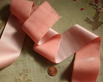 "Vintage Swiss silk velvet satin ribbon for ribbonwork  flapper trim soft pink shade 2"" wide millinery"