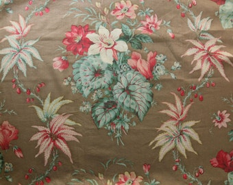 """31x 46"""" Antique vintage gorgeous cotton fabric rich time worn French floral lilies floral aged lovely farmhouse chic green pink"""